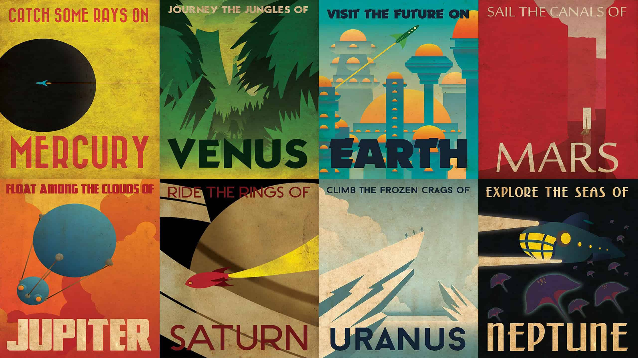 Retro Futurism Posters Wqhd 1440p Wallpaper