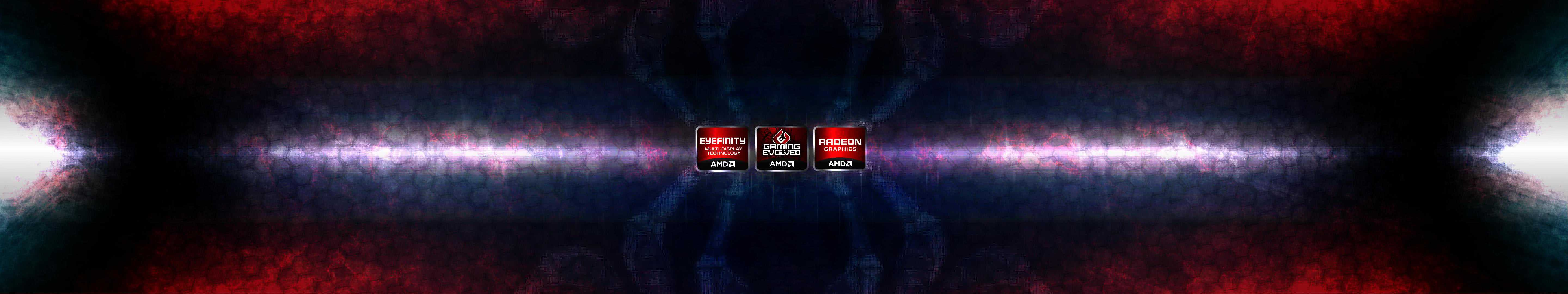 amd logo triple monitor wallpaper