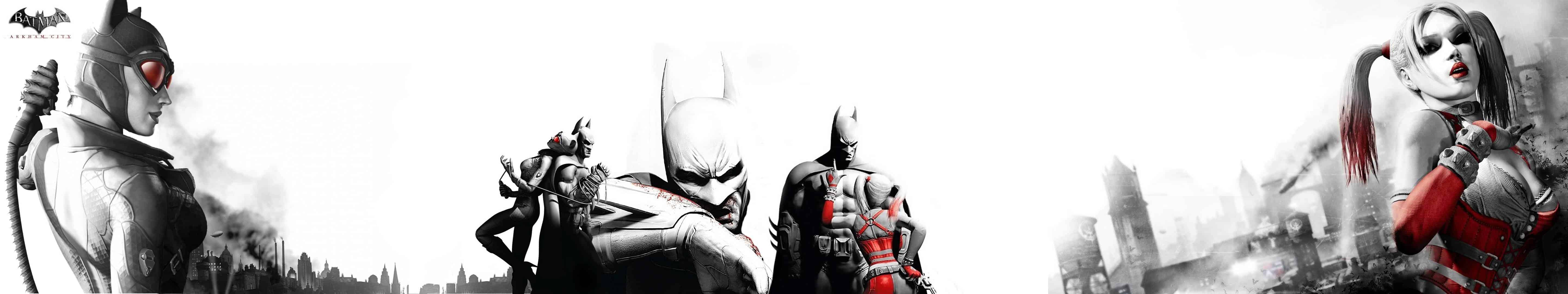 batman arkham city harley quinn triple monitor wallpaper