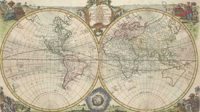 British Vintage World Map A New And Accurate Map Of All The Known