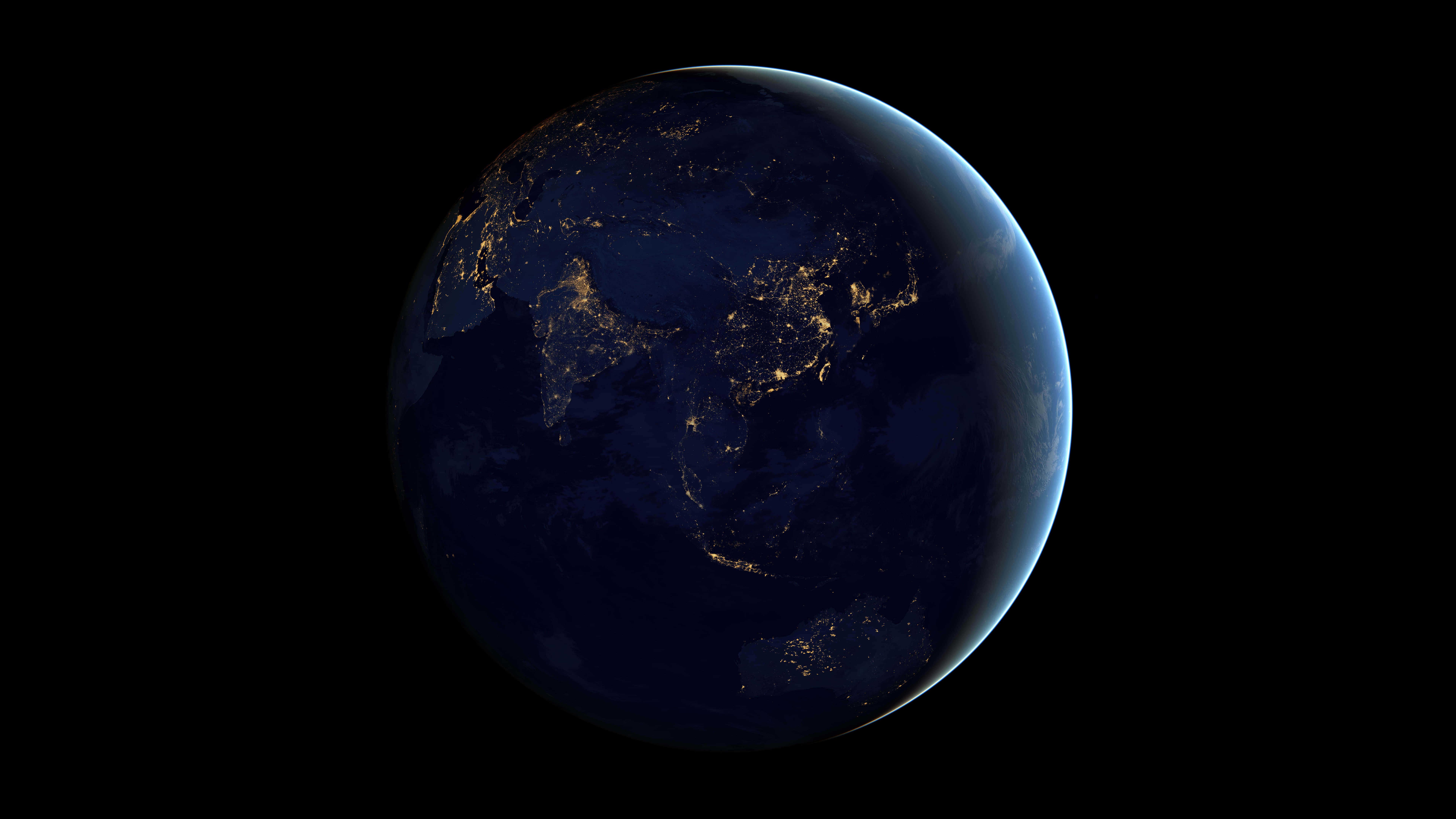 planet earth at night uhd 8k wallpaper