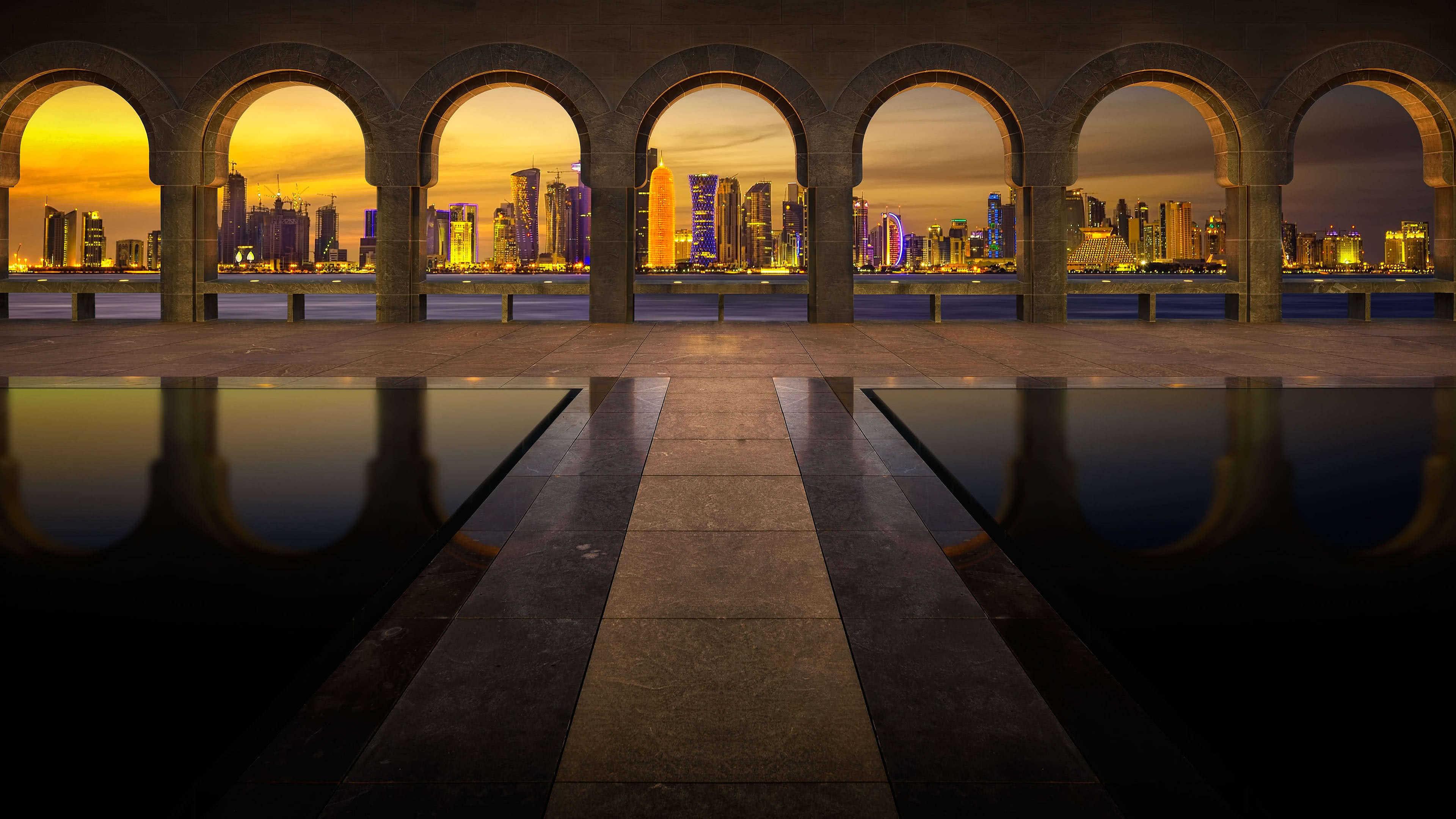 qatar city skyline at night uhd 4k wallpaper