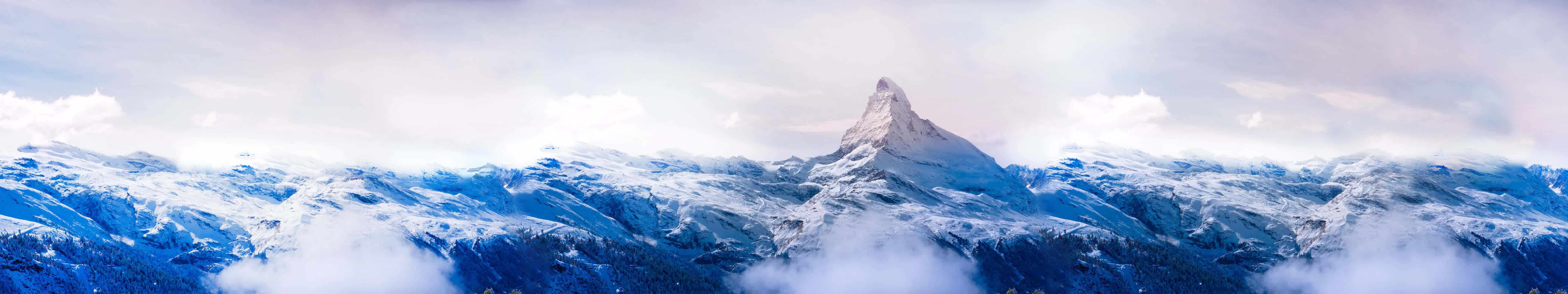 snow covered mountains triple monitor wallpaper