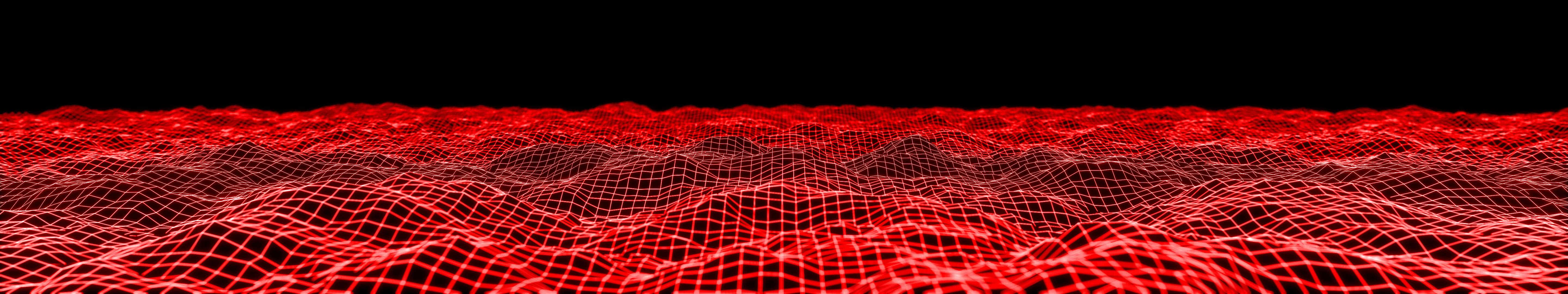 wavy mesh red triple monitor wallpaper`