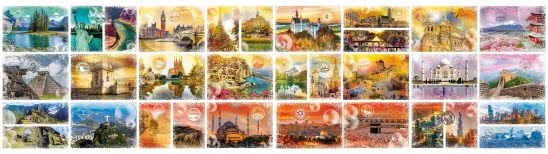 around the world 48000 piece puzzle dual monitor wallpaper