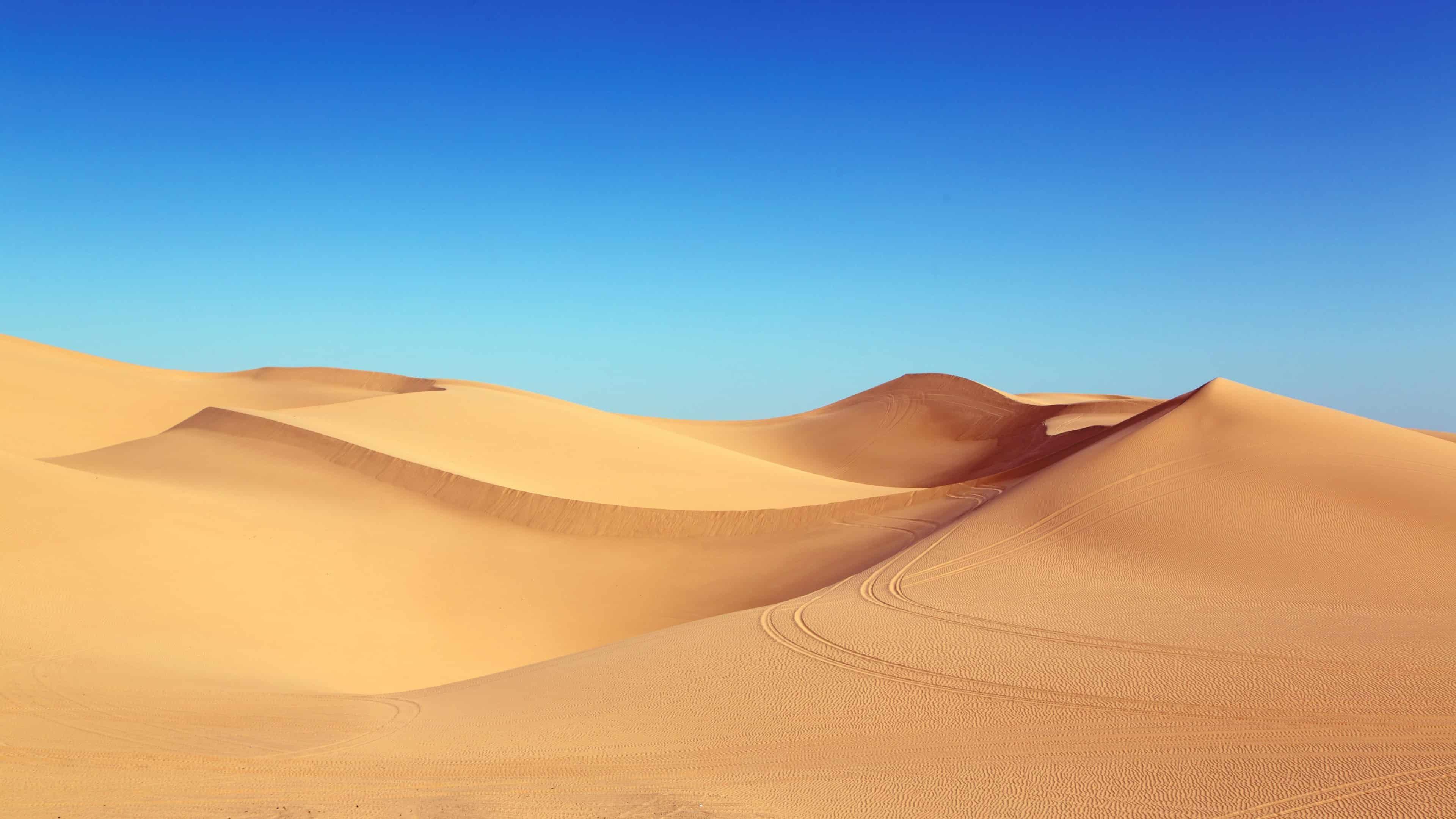 blue sky and desert dunes uhd 4k wallpaper