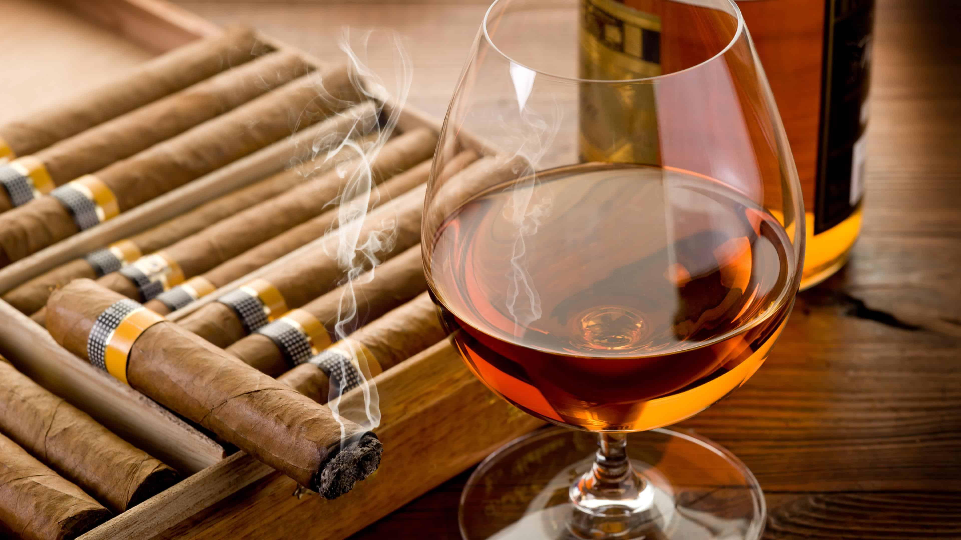 cuban cigar and glass of cognac uhd 4k wallpaper
