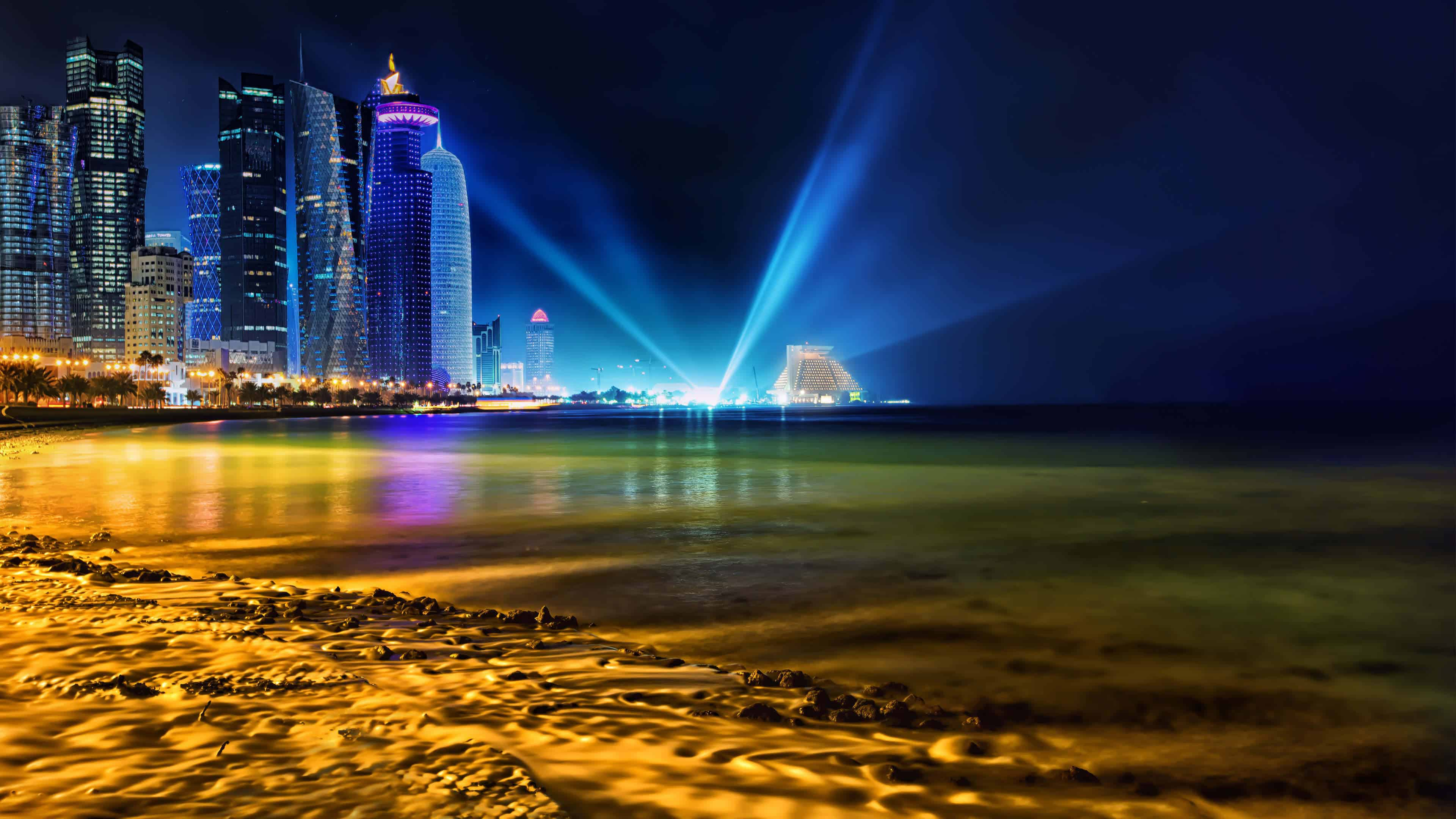 doha city skyline qatar uhd 4k wallpaper