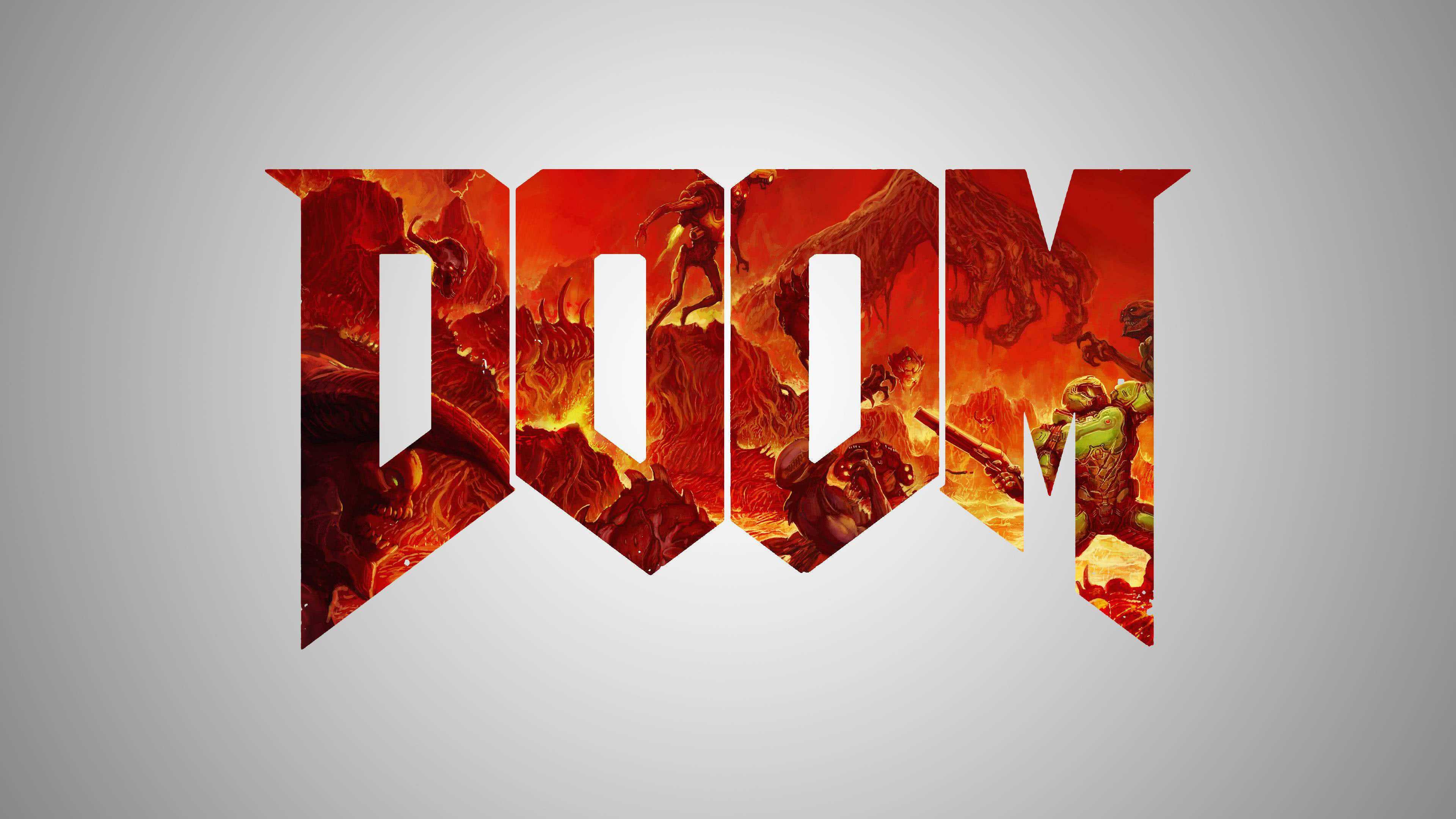 doom logo uhd 4k wallpaper