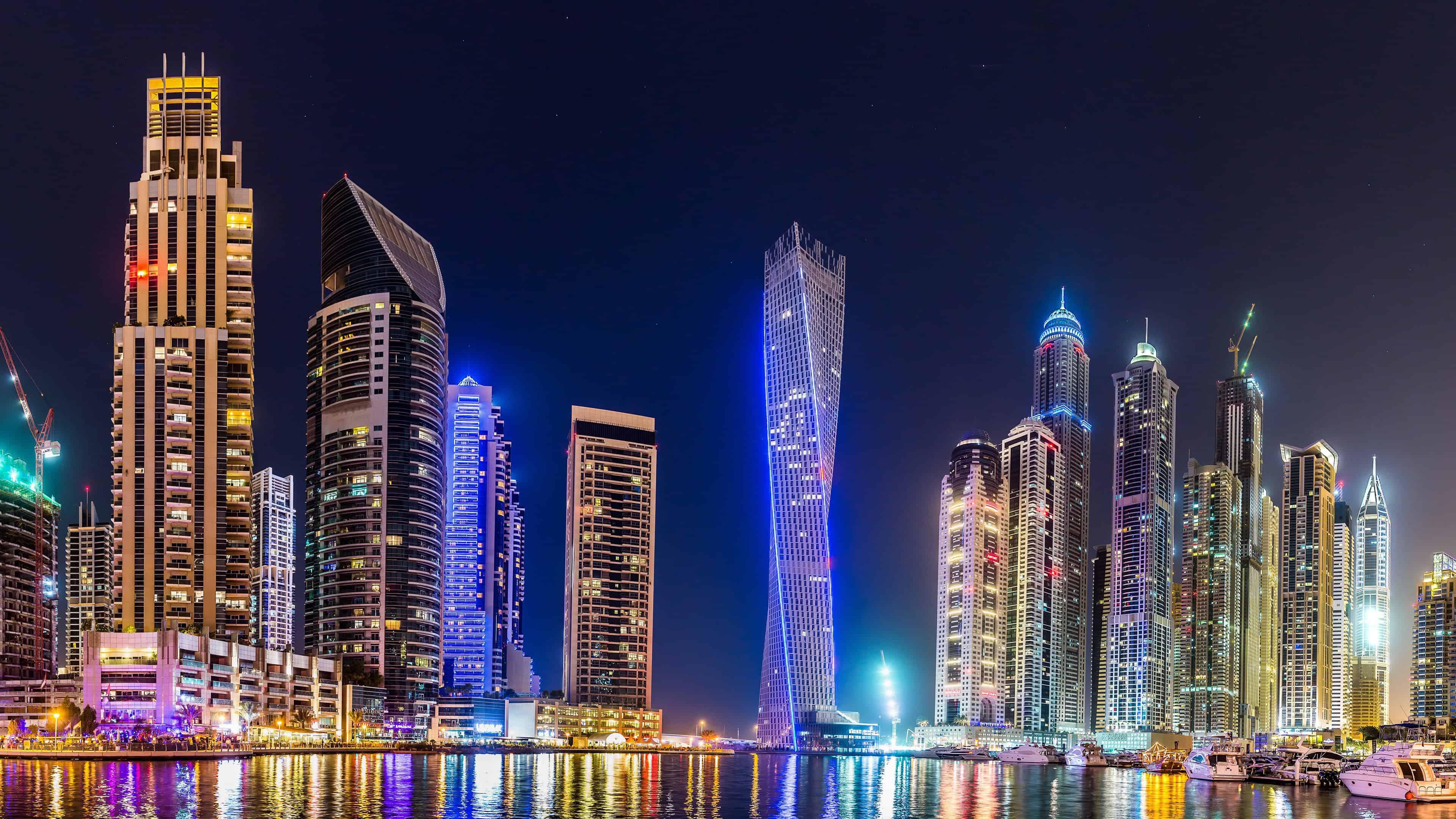 Dubai Skyline At Night Uhd 4k Wallpaper Pixelz