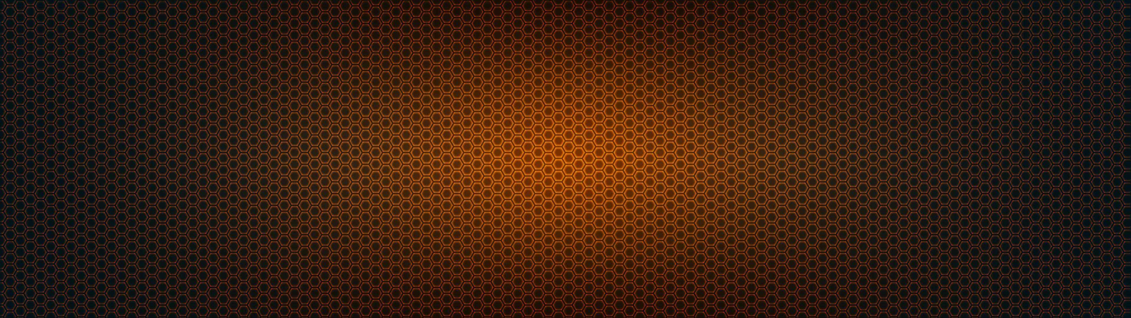hexagon pattern orange and black dual monitor wallpaper