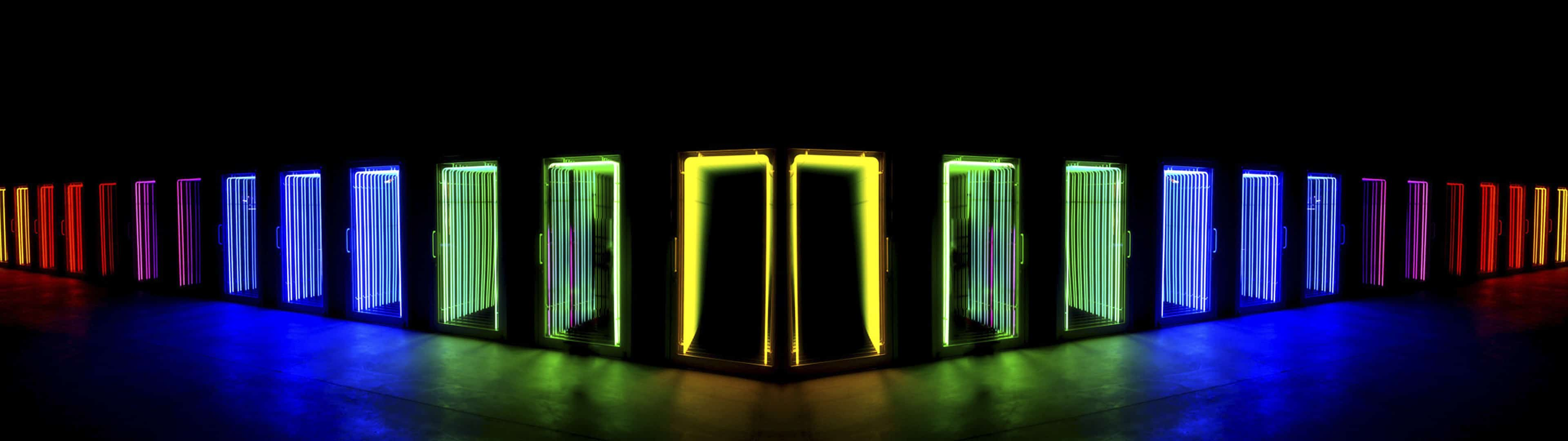 neon light doors dual monitor wallpaper