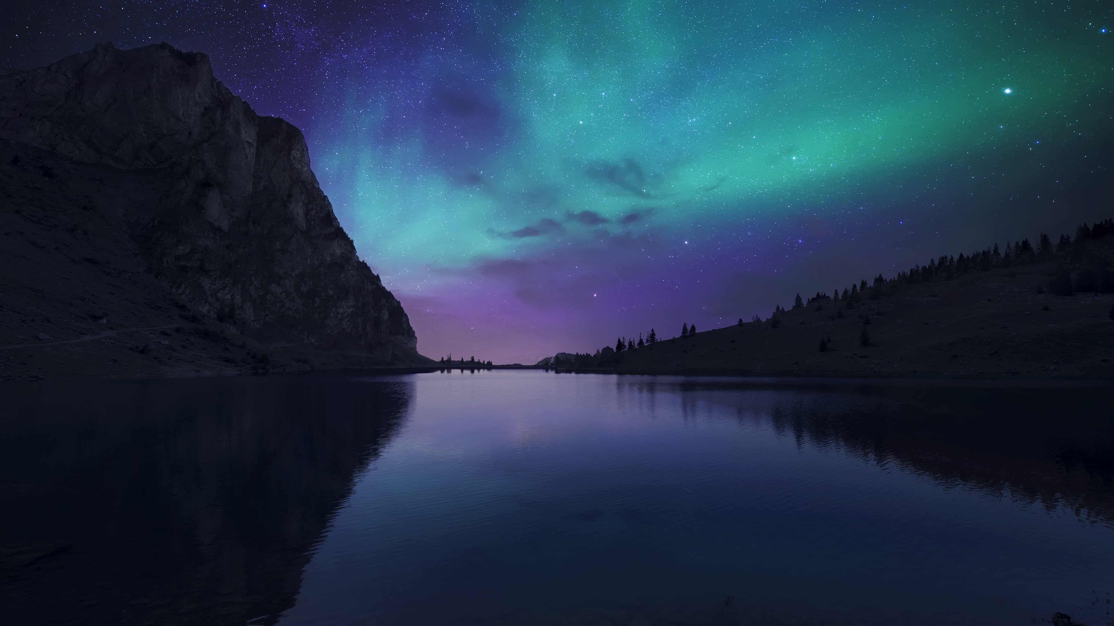 northern lights aurora borealis over lake uhd 4k wallpaper