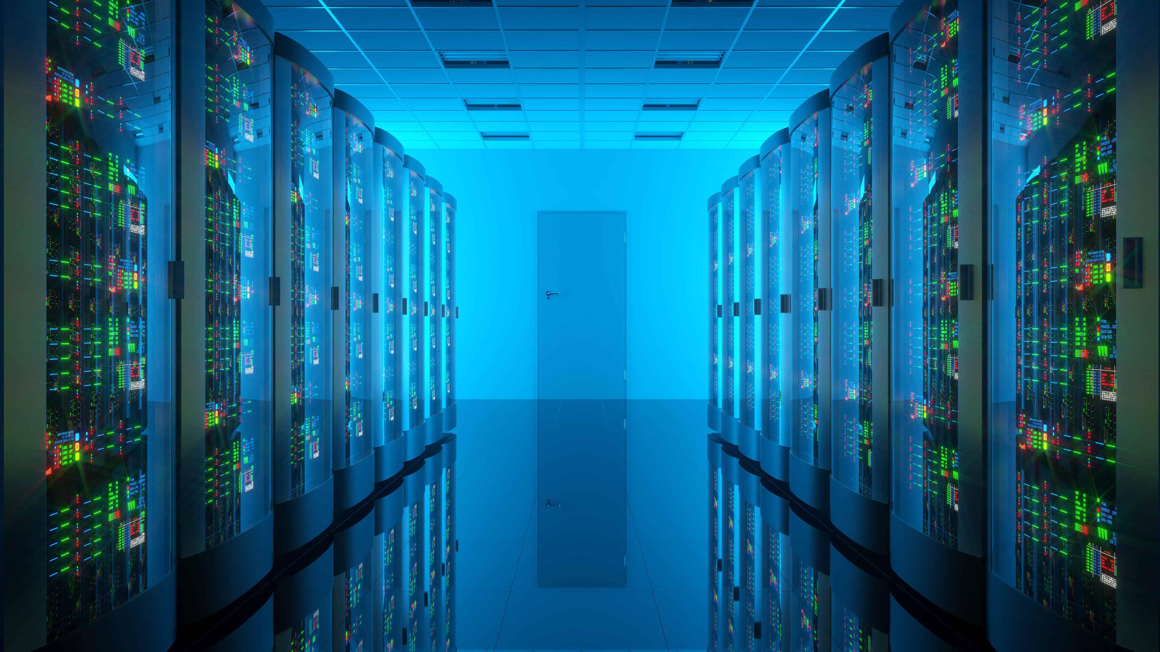 server room blue uhd 4k wallpaper