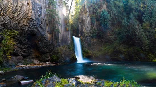 toketee falls north umpqua river oregon united states uhd 4k wallpaper