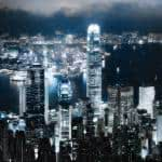 victoria peak hong kong night cityscape dual monitor wallpaper