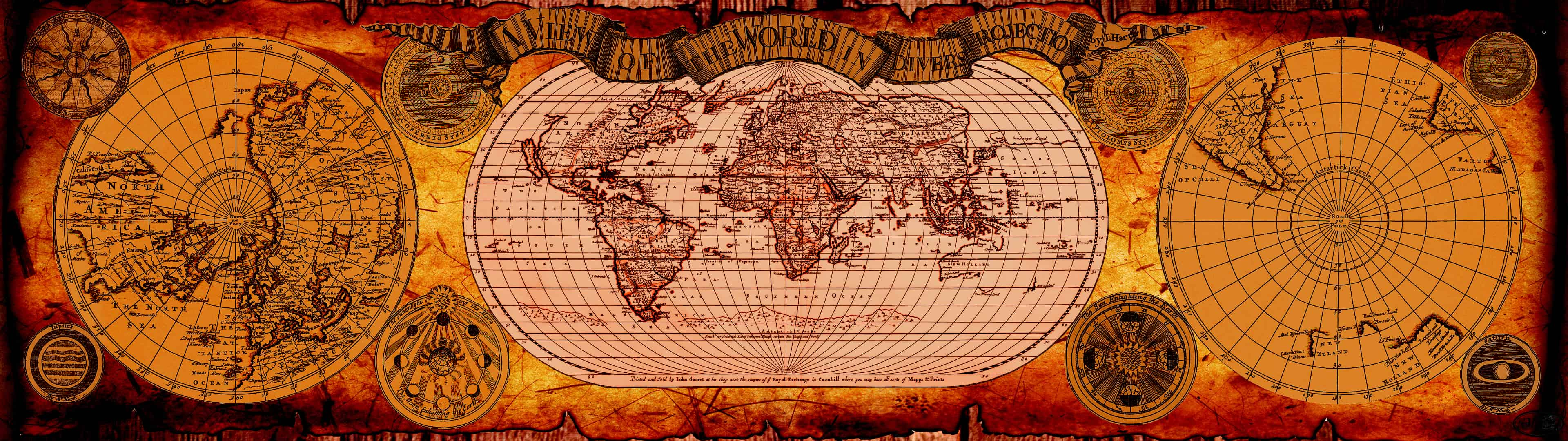 Vintage World Map Dual Monitor Wallpaper Pixelz