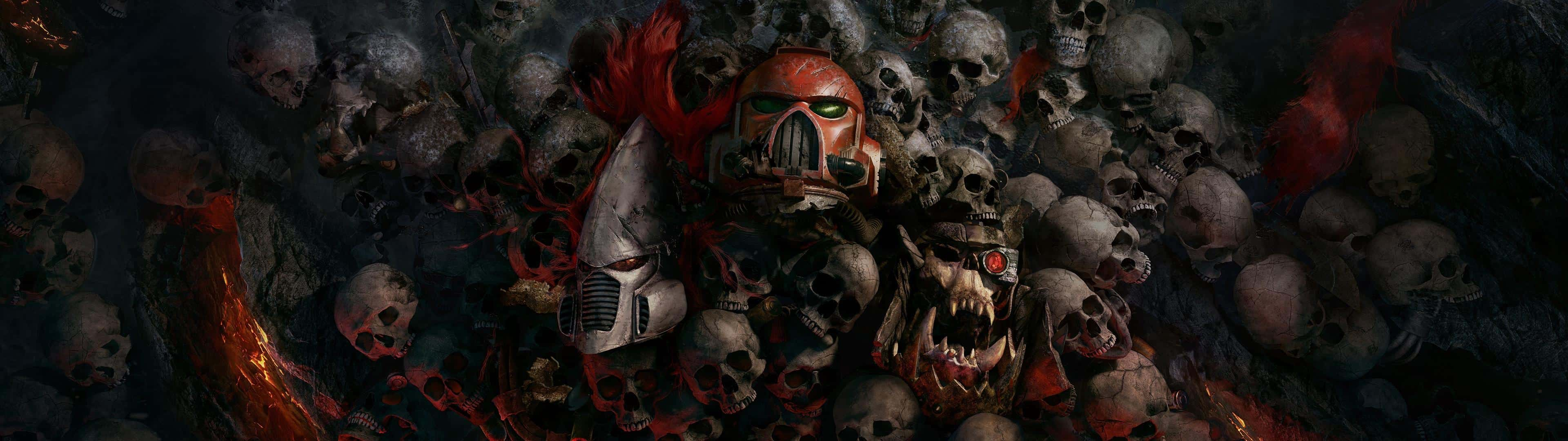 Warhammer 40k Dawn Of War 3 Skulls Dual Monitor Wallpaper