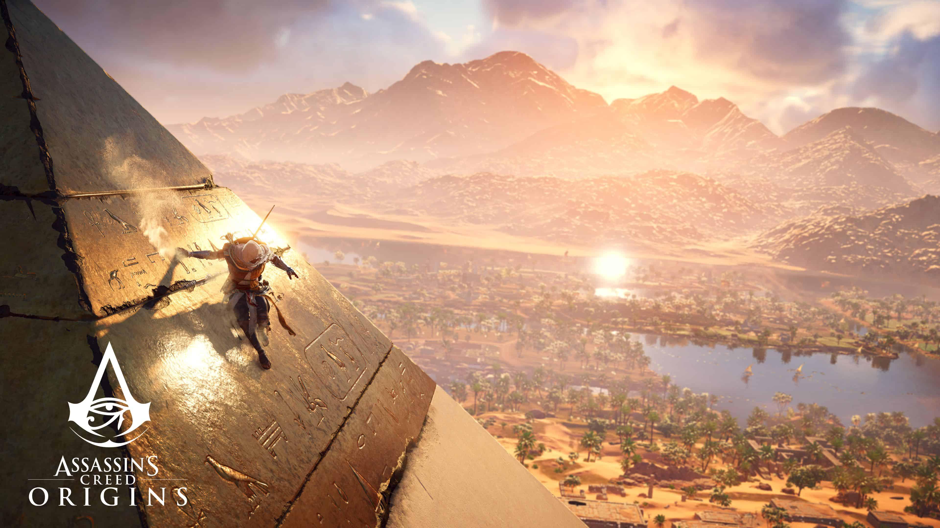 assassins creed origins bayek pyramid uhd 4k wallpaper