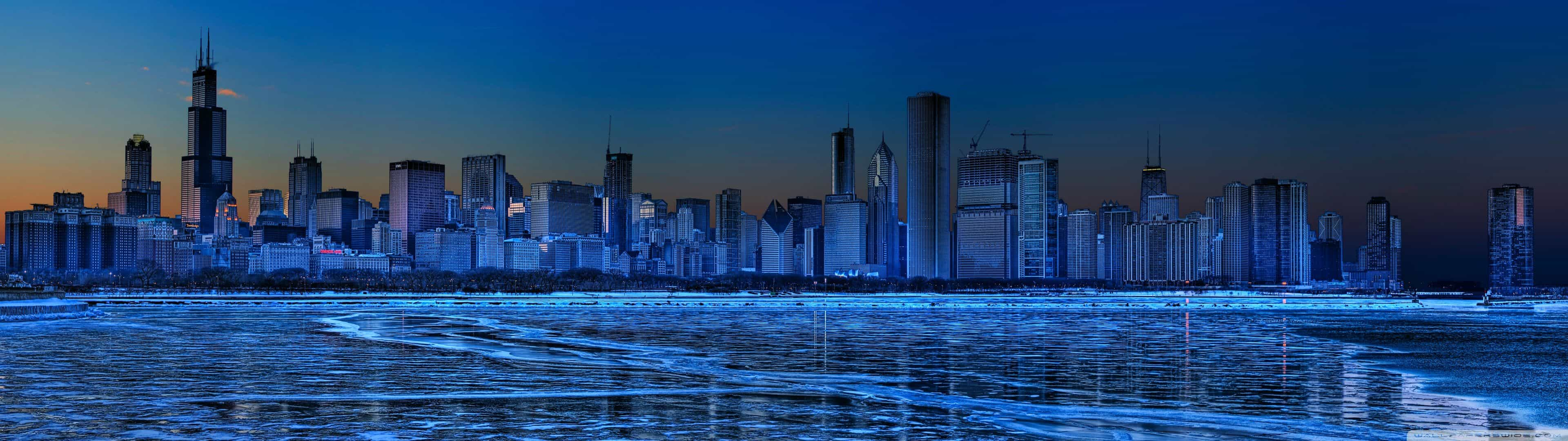 chicago skyline united states dual monitor wallpaper