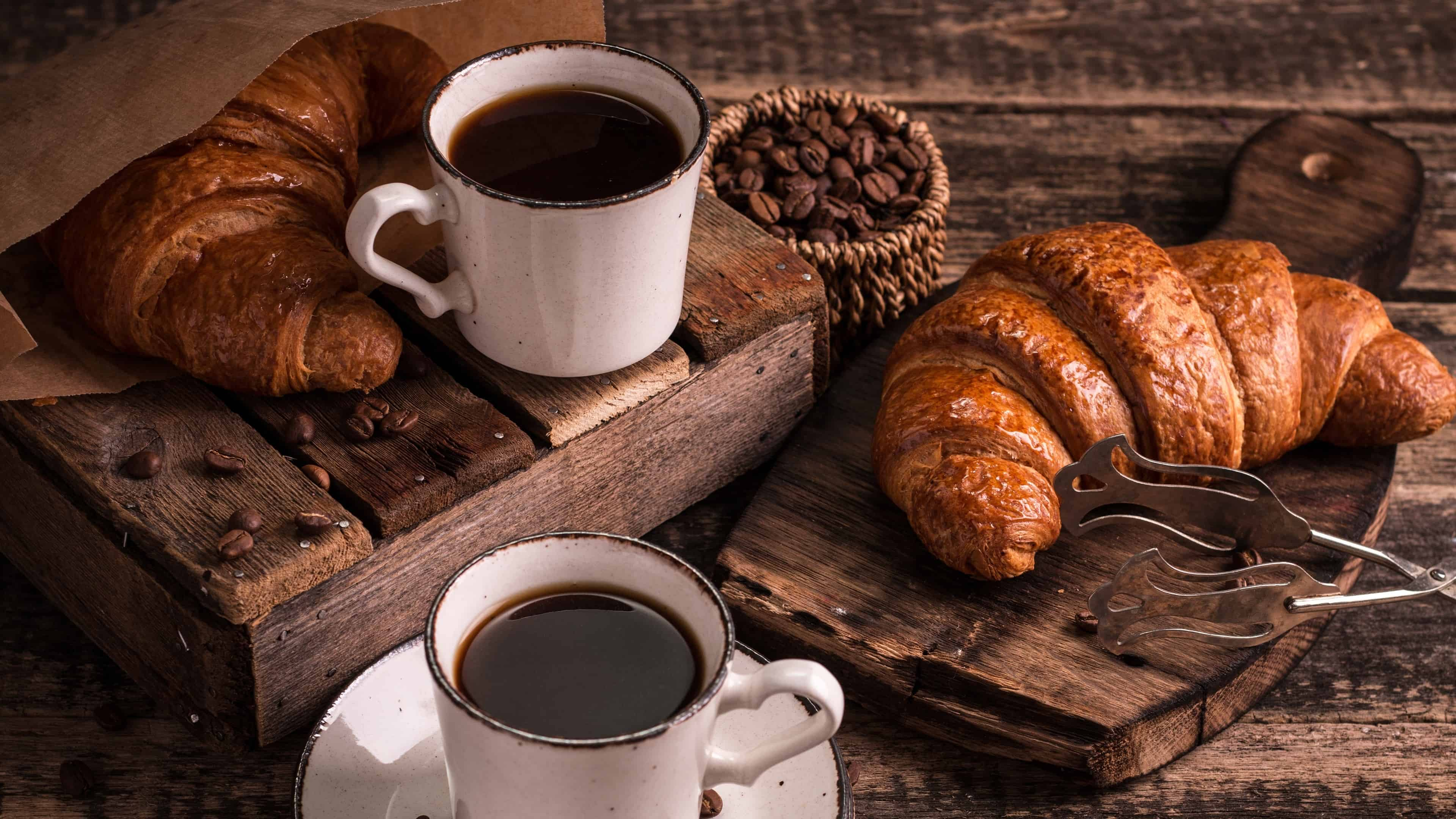 croissant and coffee uhd 4k wallpaper