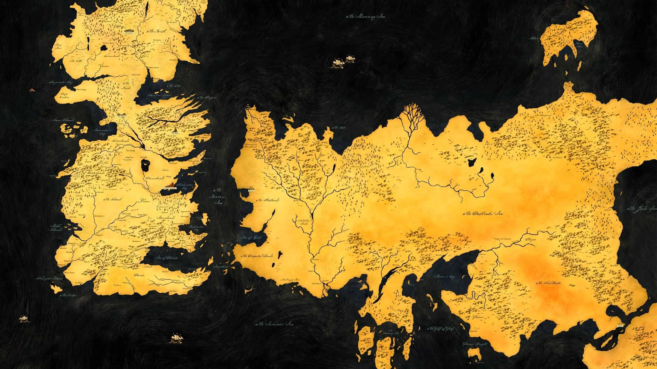 Game Of Thrones Map Of Westeros And Essos Wqhd 1440p Wallpaper