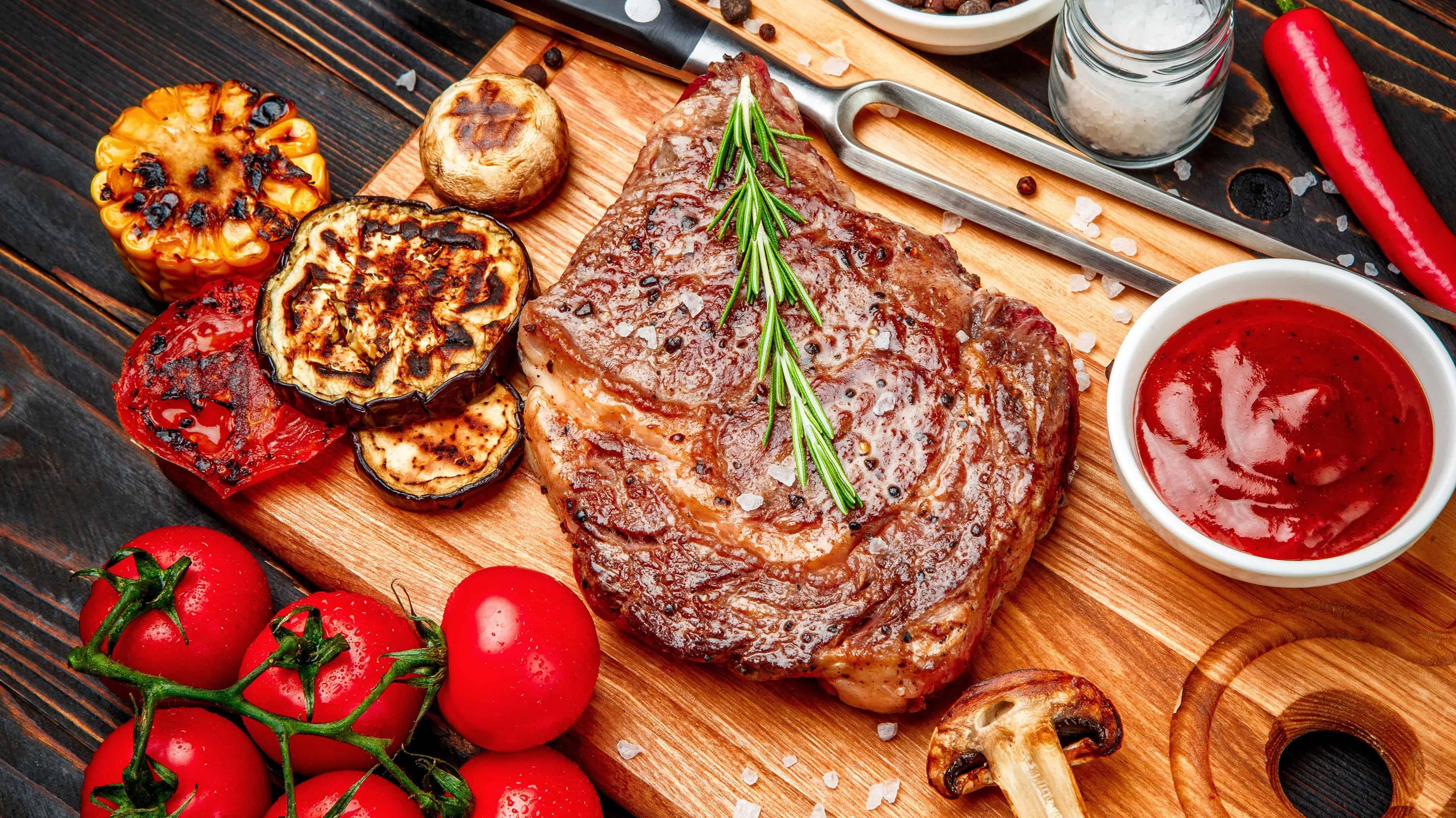grilled steak uhd 4k wallpaper
