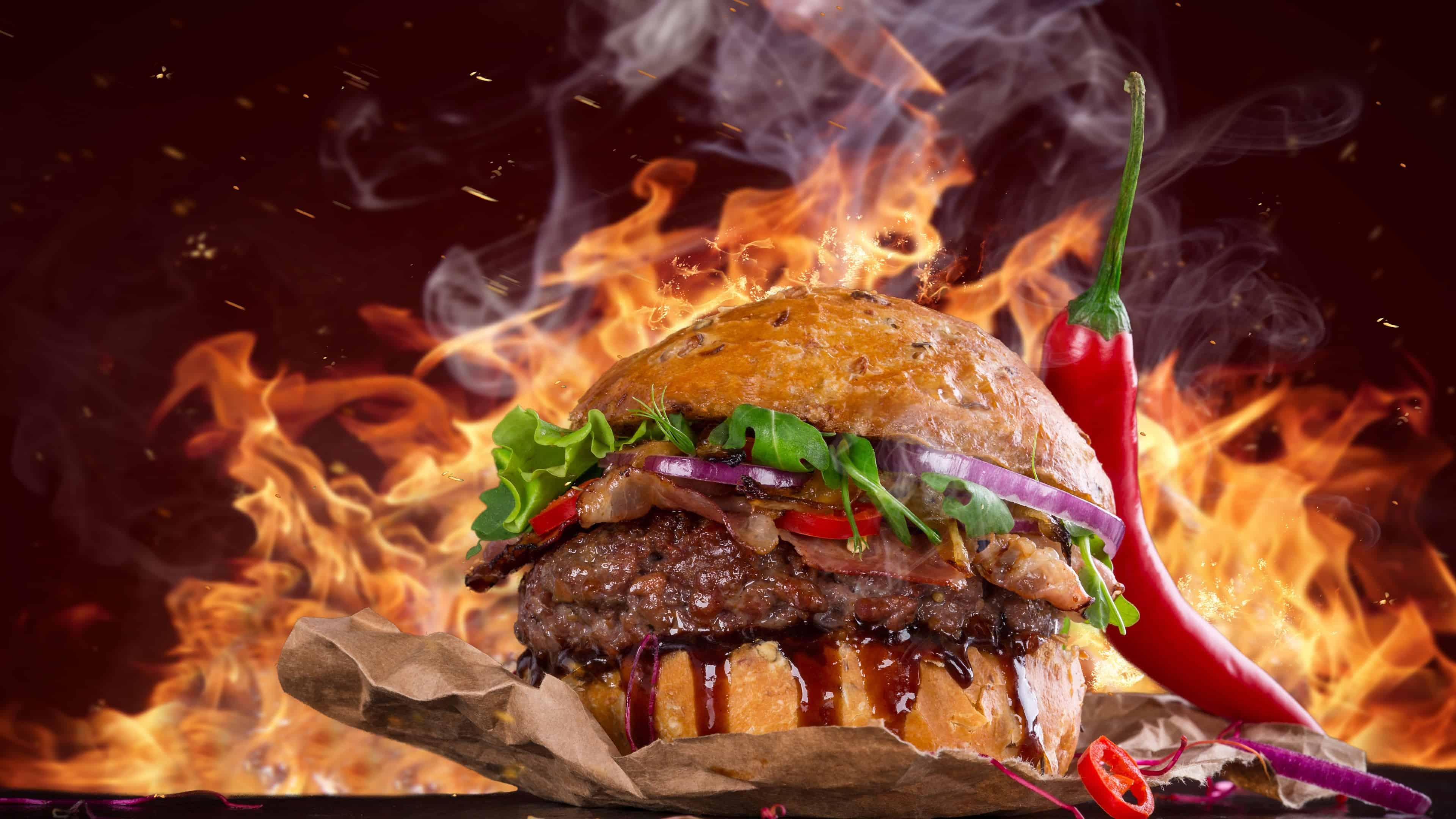 hamburger spicy uhd 4k wallpaper