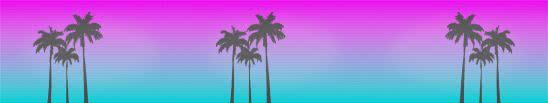 hotline miami palm trees triple monitor wallpaper