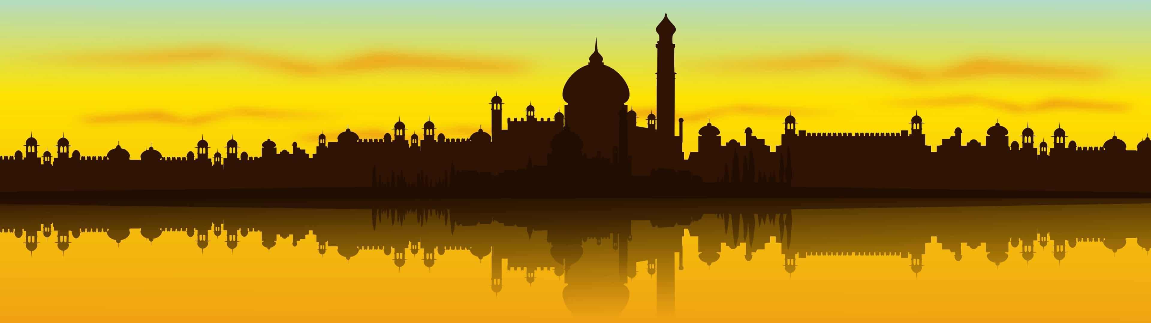 india skyline silhouette dual monitor wallpaper