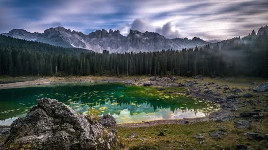 lake of carezza val d ega valley italy uhd 4k wallpaper