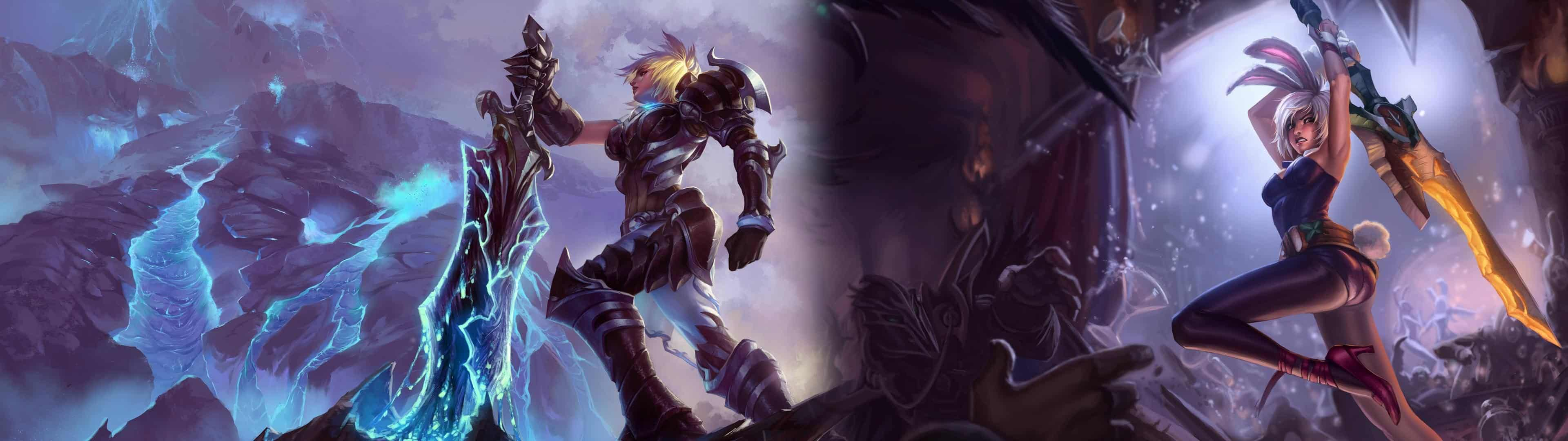 League Of Legends Riven Dual Monitor Wallpaper Pixelz