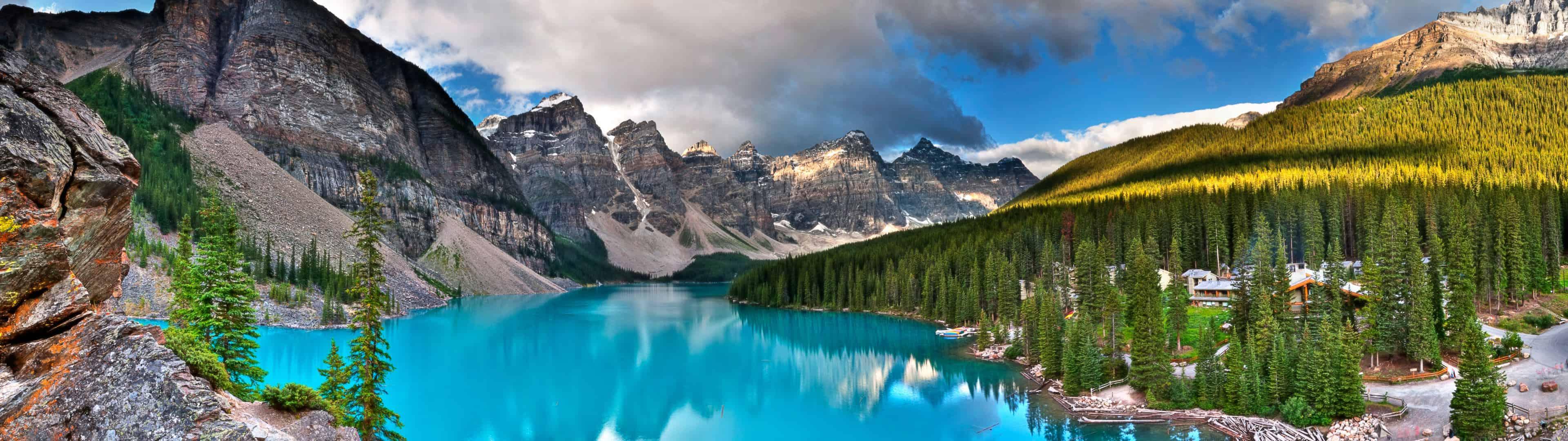 moraine lake banff national park canada dual monitor wallpaper