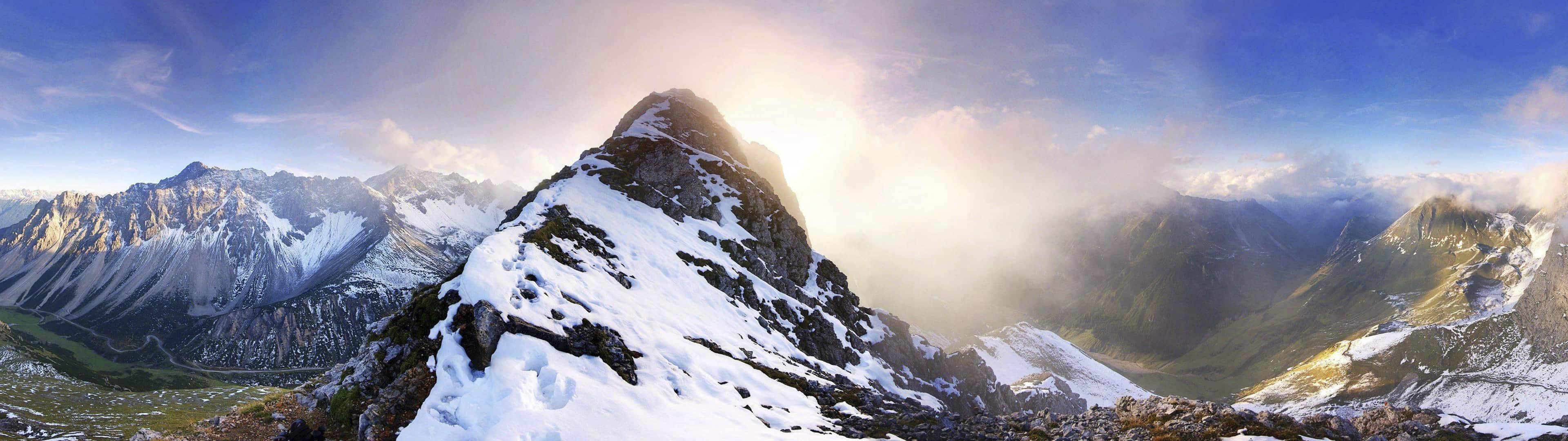 Mountain Panorama Austria Dual Monitor Wallpaper Pixelz