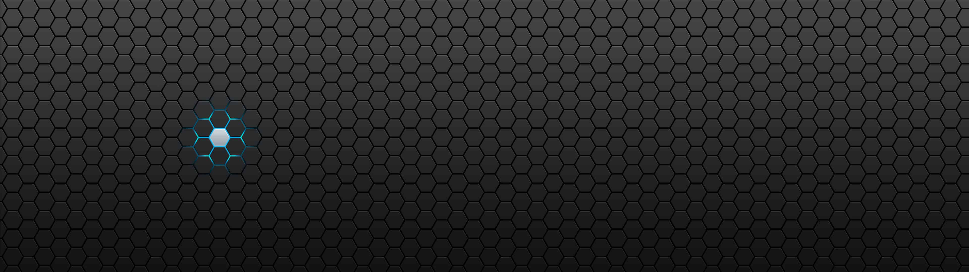 octagon pattern black and blue dual monitor wallpaper