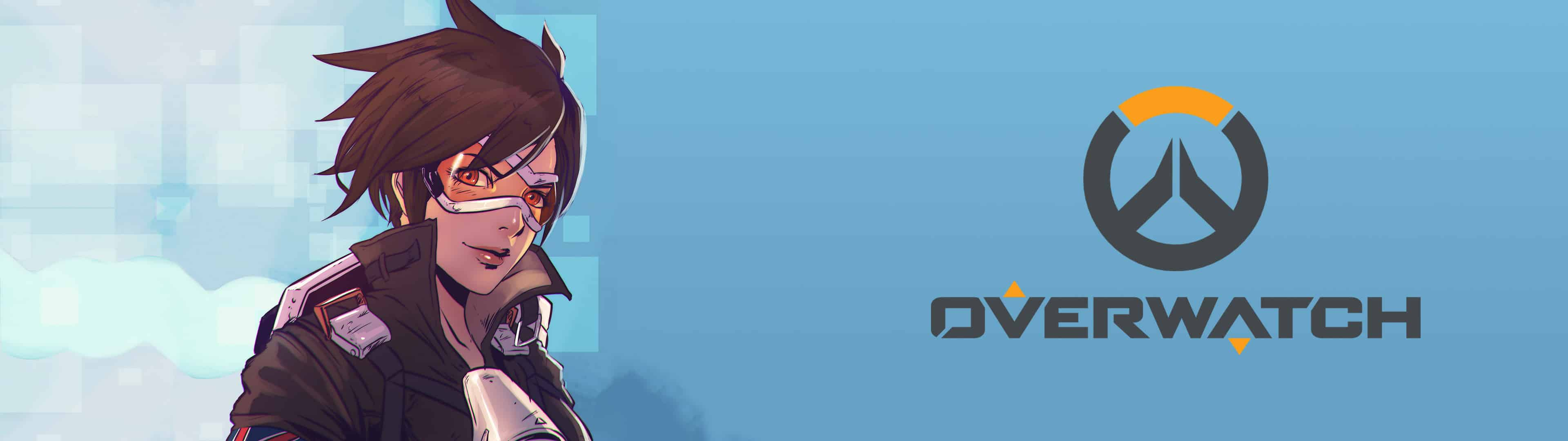 overwatch tracer dual monitor wallpaper
