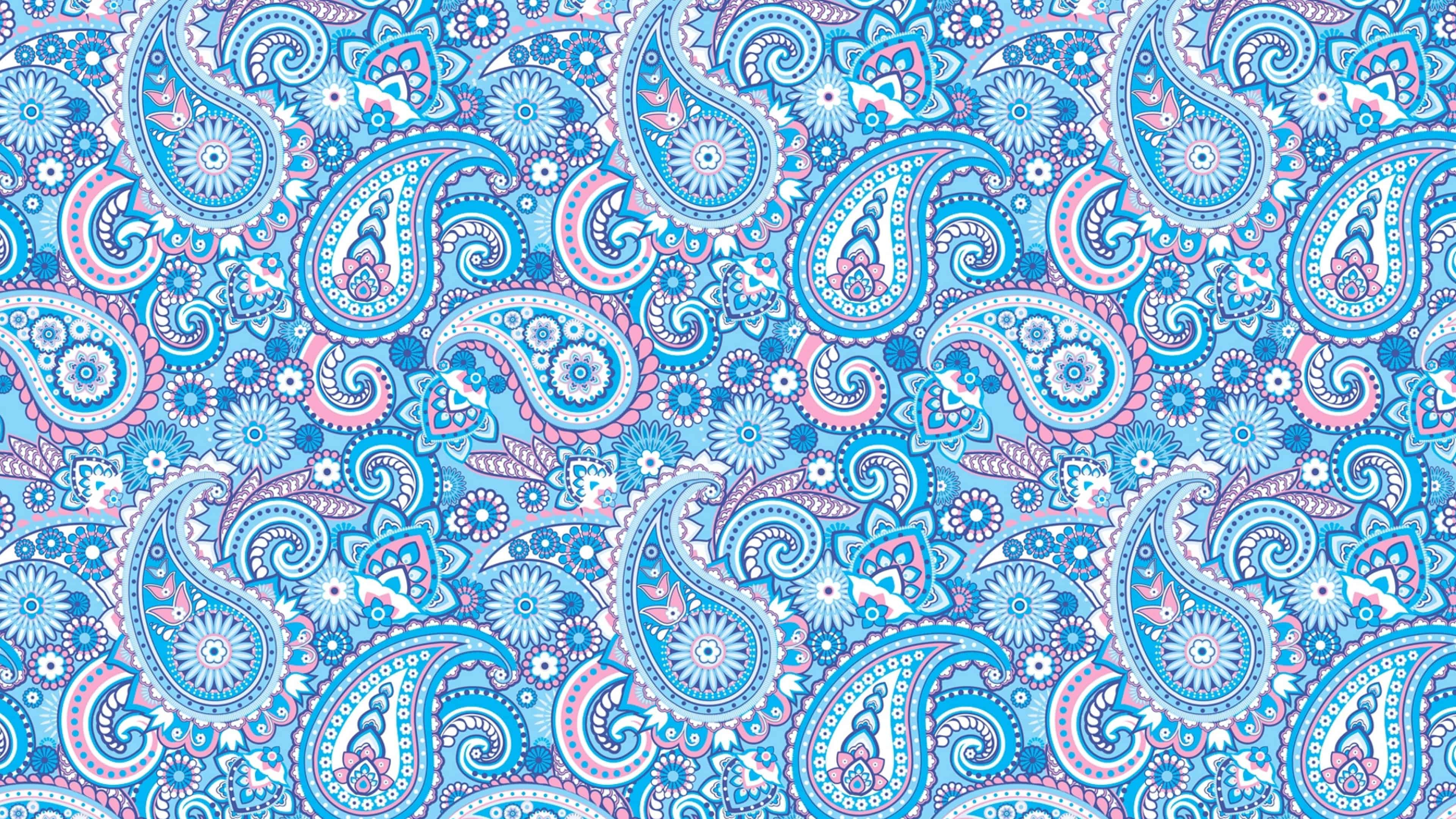 paisley pattern blue and pink uhd 4k wallpaper