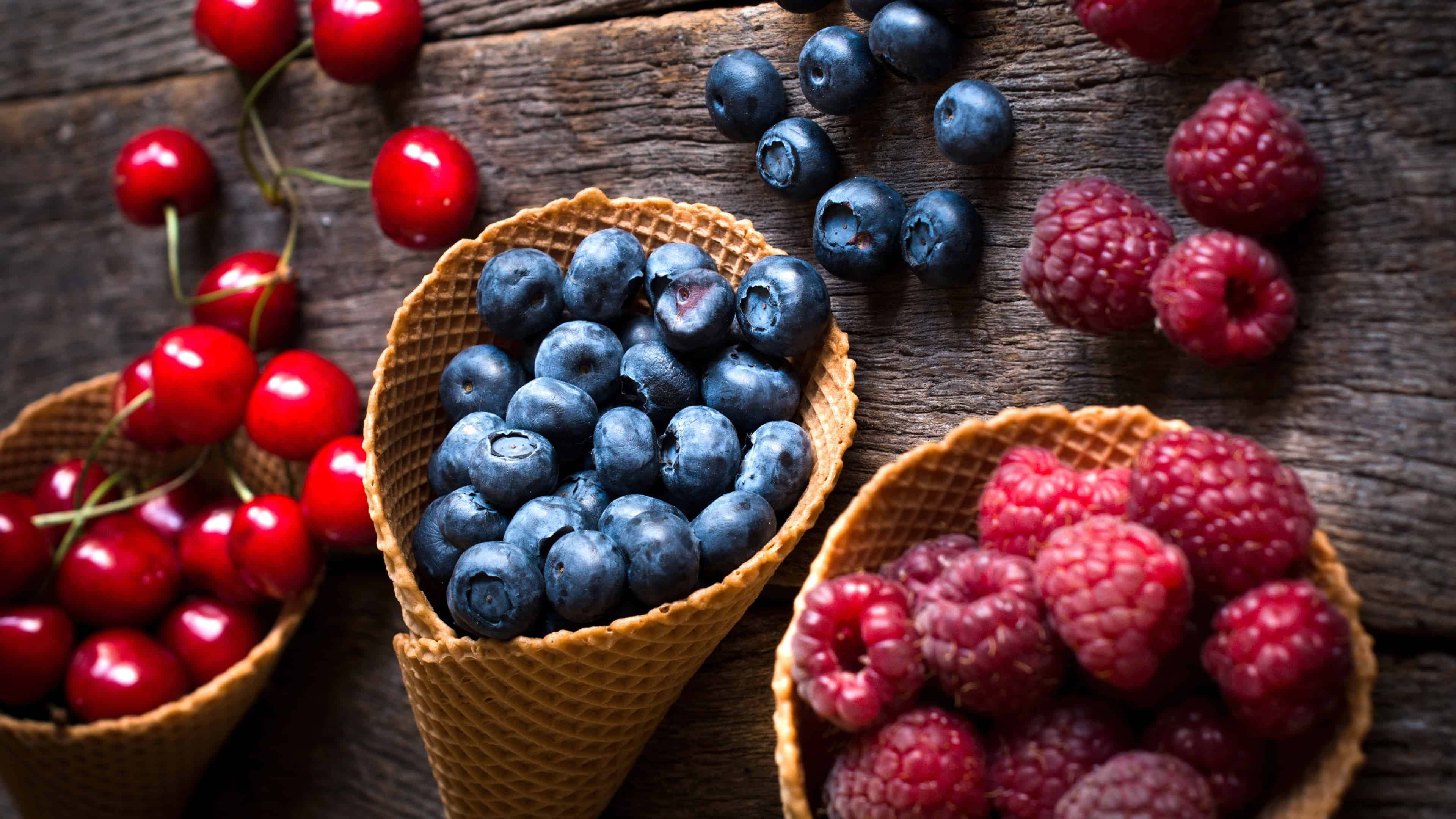 Raspberry Blueberry And Cherry Cones Uhd 4k Wallpaper Pixelz