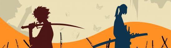 samurai champloo silhouette dual monitor wallpaper