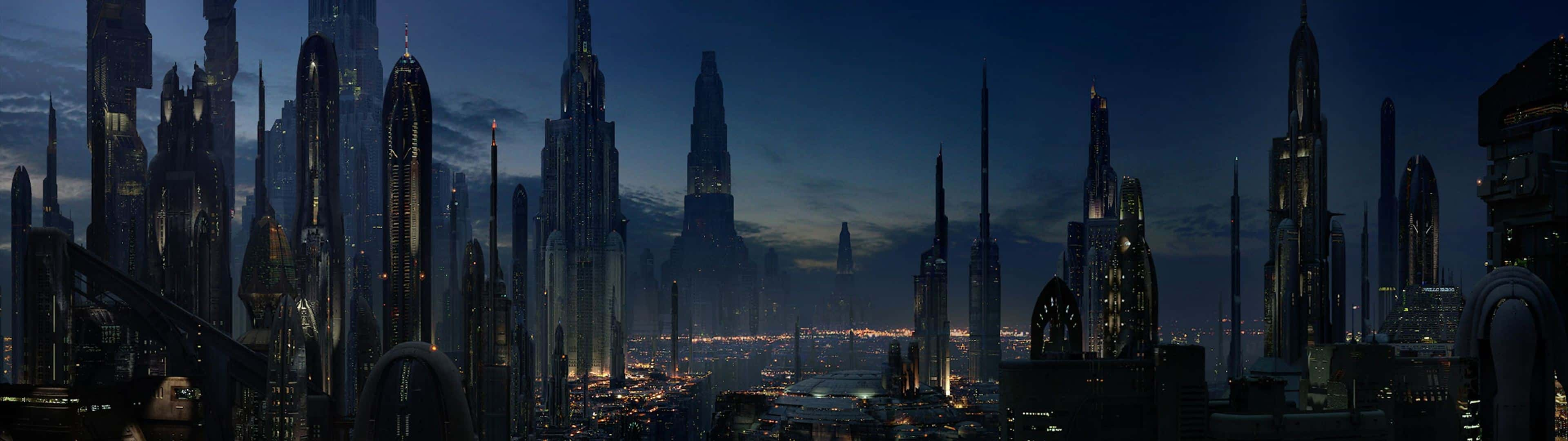 Star Wars Coruscant Dual Monitor Wallpaper Pixelz