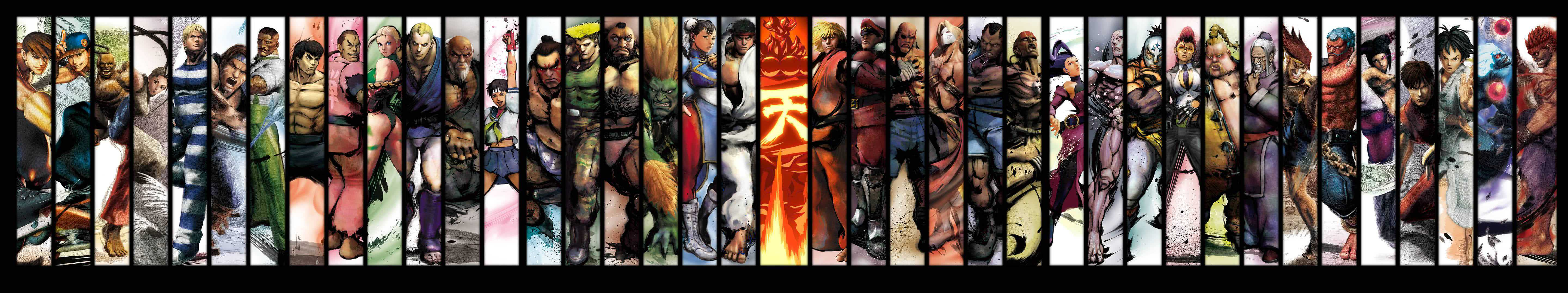 street fighter chracters triple monitor wallpaper