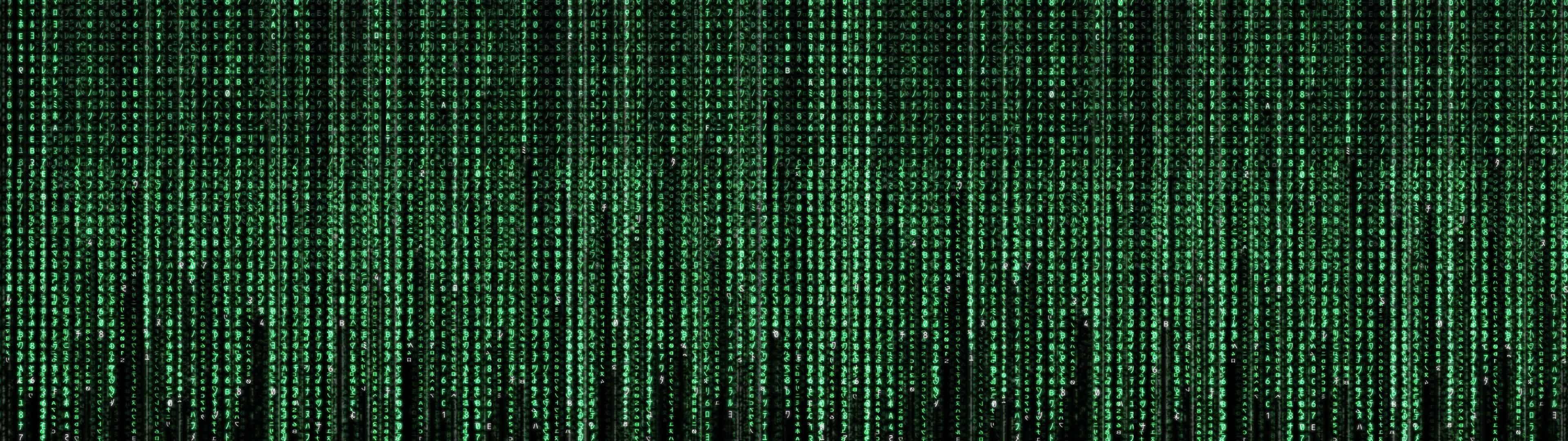 the matrix code dual monitor wallpaper