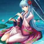 anime girl in kimono on water lily uhd 4k wallpaper