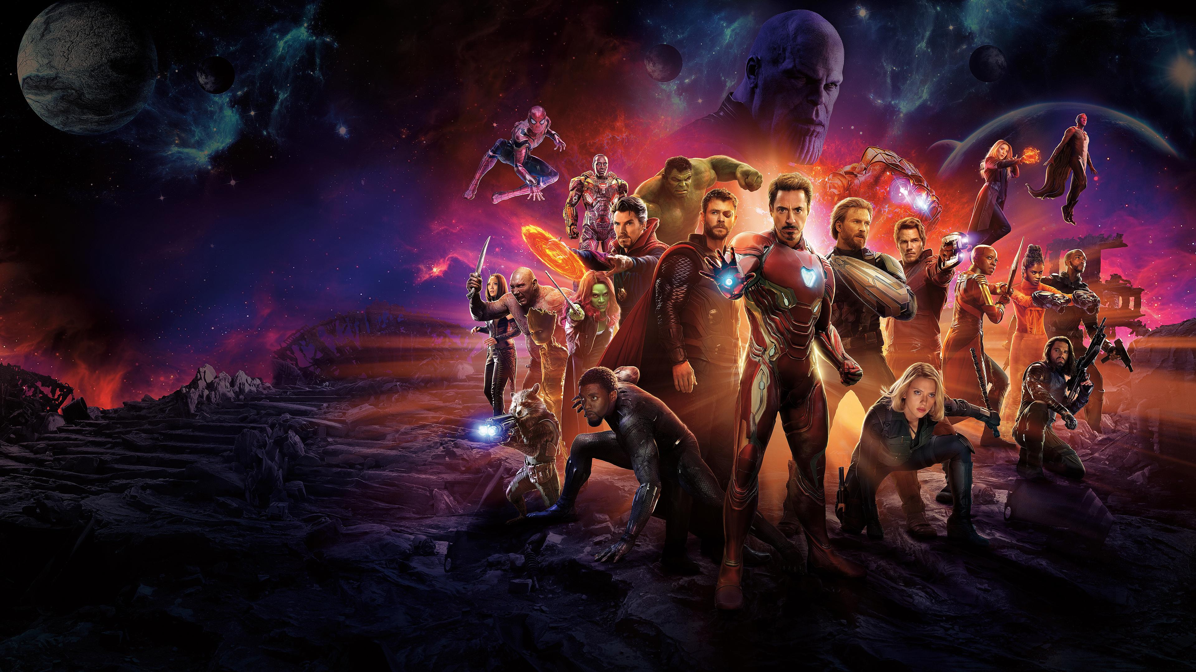 Avengers Infinity War Iron Man Spider Man Doctor Strange Captain America War Machine Vision Acarlet Falcon Groot Rocket Star Lord Gamora Thor Drax Black Widow Hulk Black Panther Uhd 4k Wallpaper