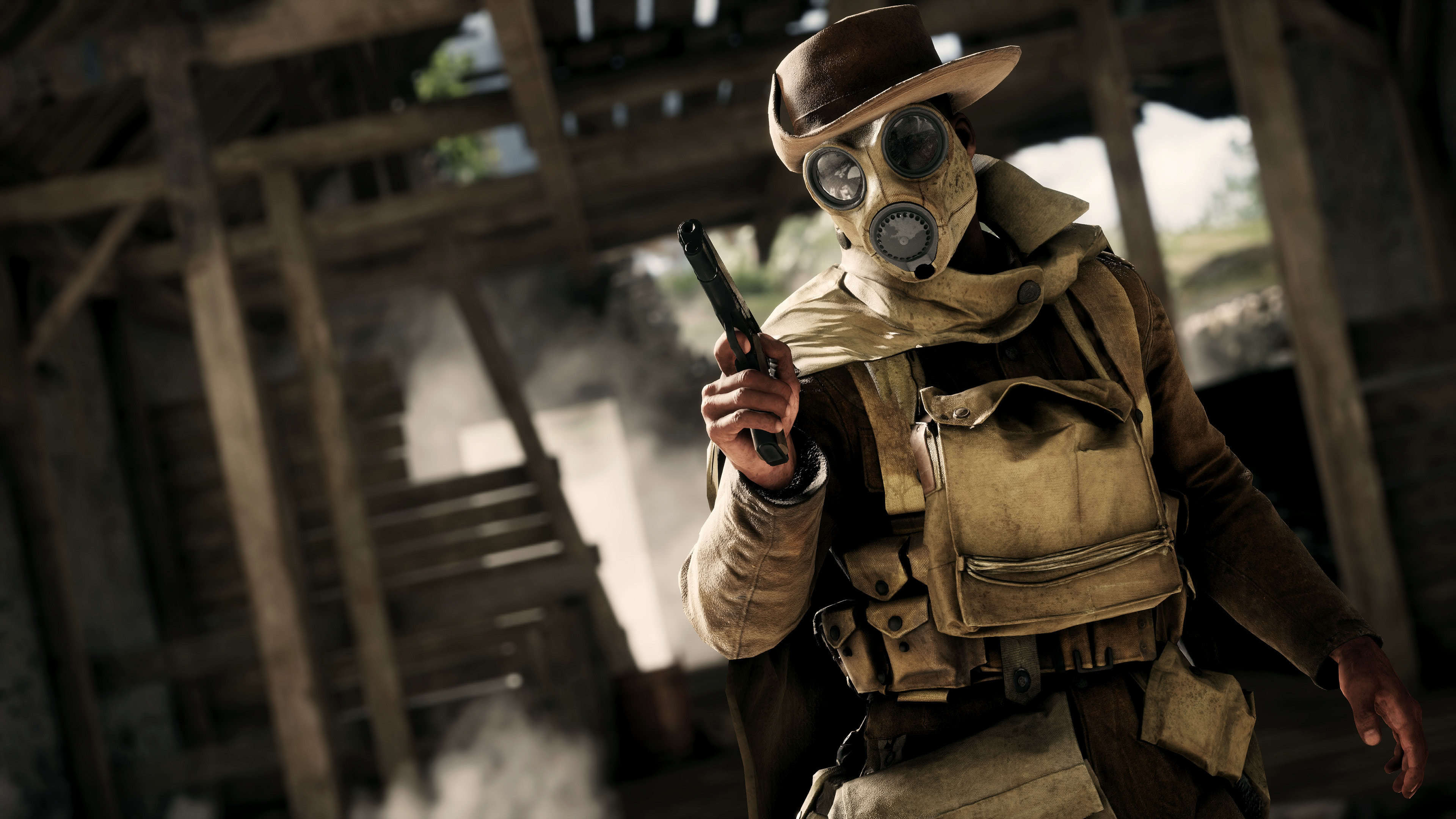 Battlefield 1 Soldier With Gas Mask UHD 4K Wallpaper