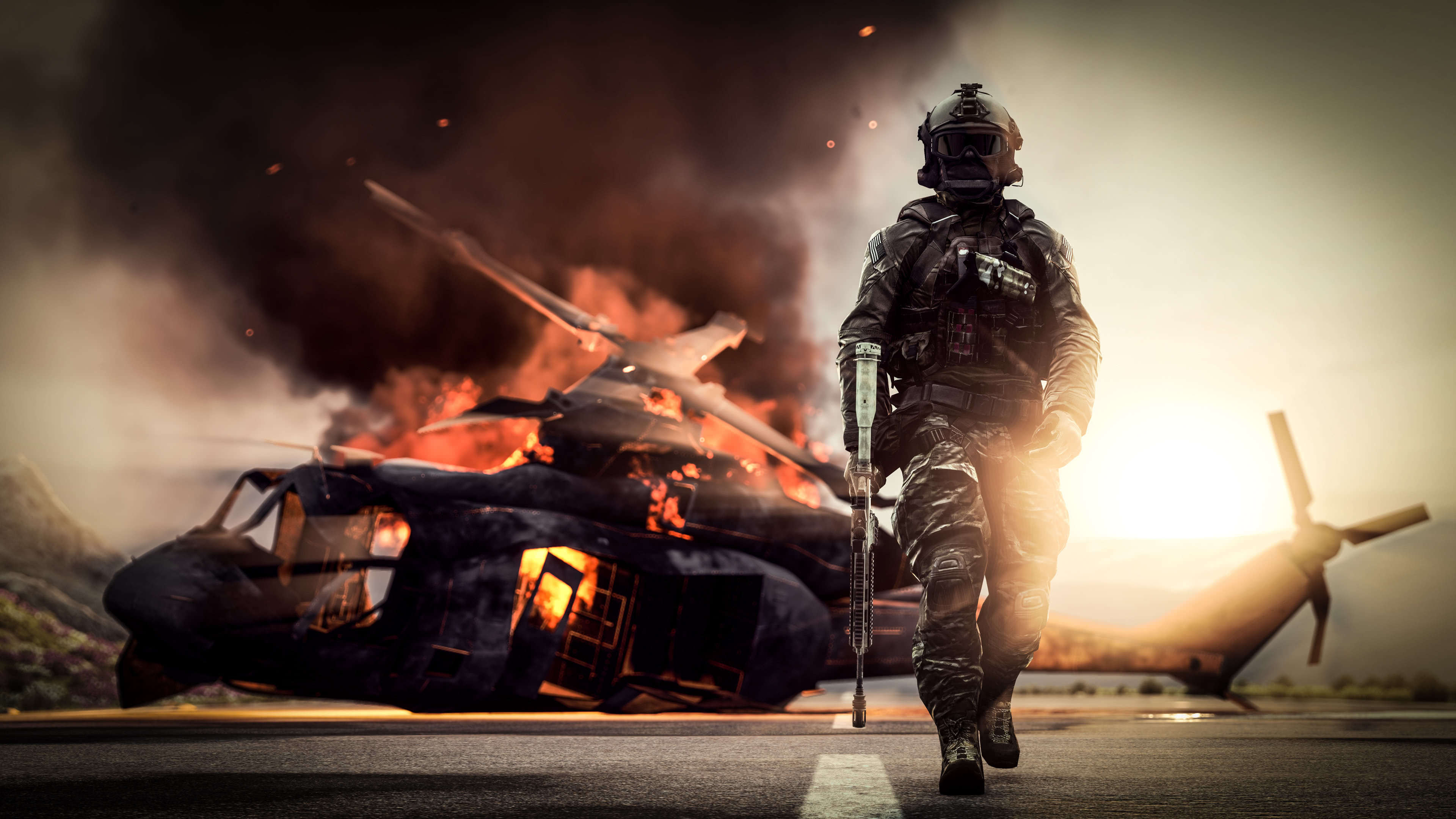 Battlefield 4 Soldier Helicopter UHD 4K Wallpaper