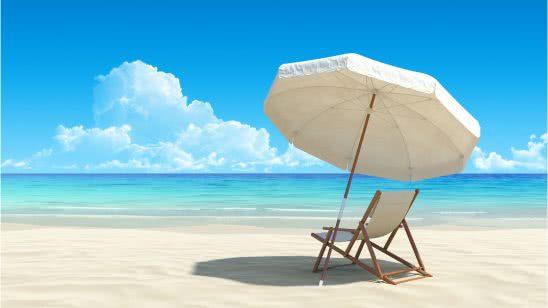 beach chair and umbrella tropical beach uhd 4k wallpaper