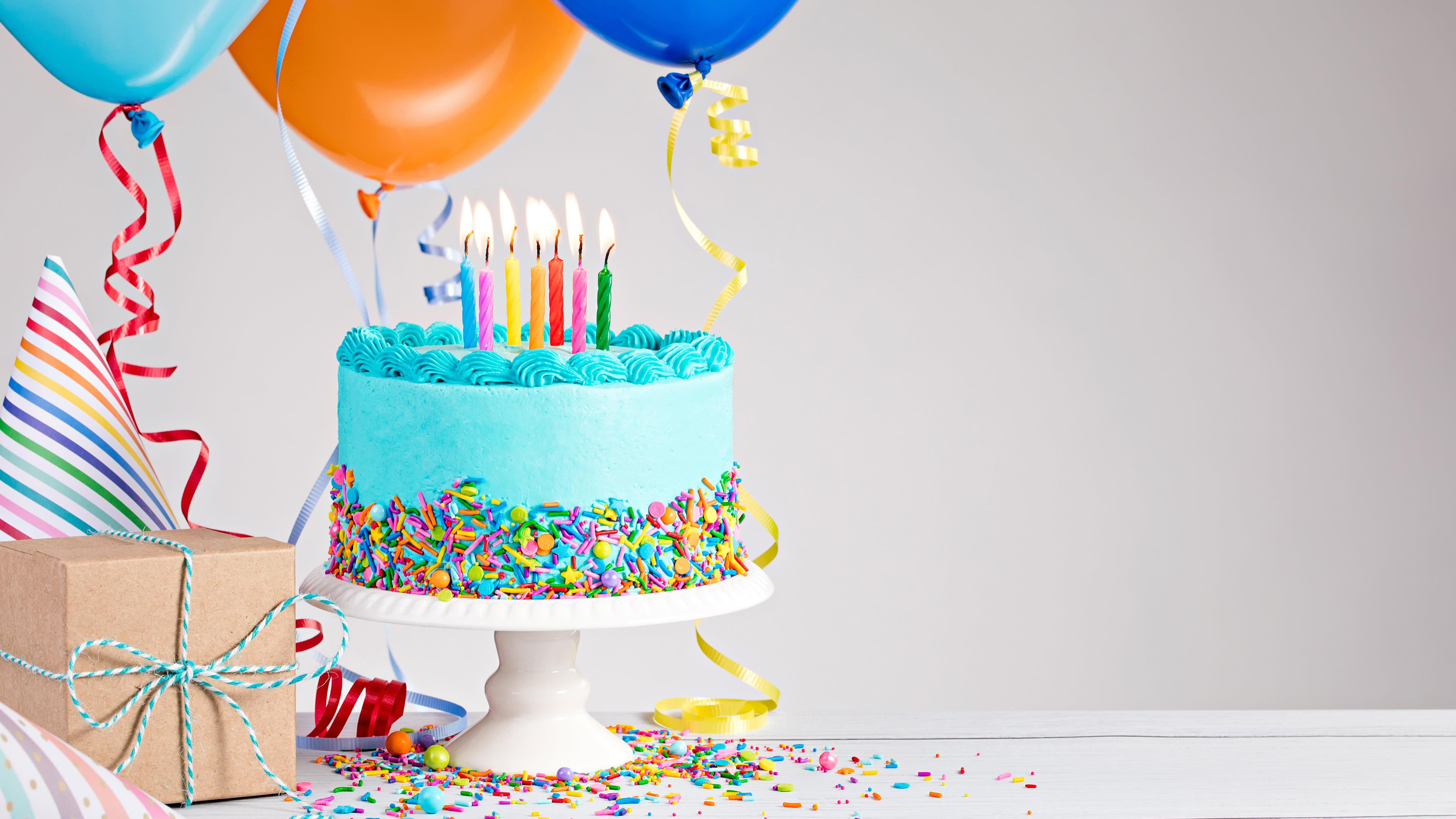 Birthday Cake And Balloons Uhd 4k Wallpaper