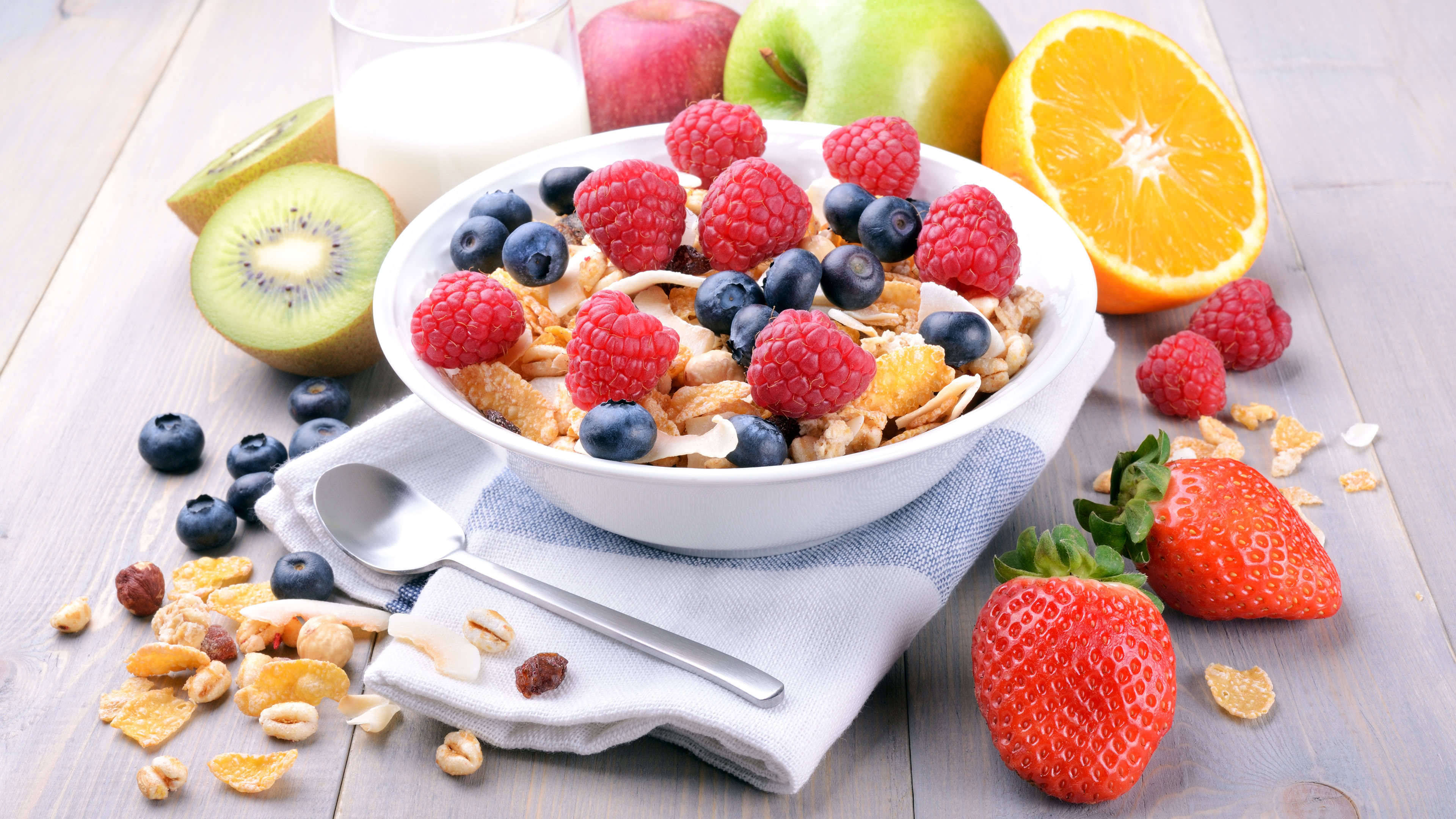 cereal and fruit breakfast uhd 4k wallpaper