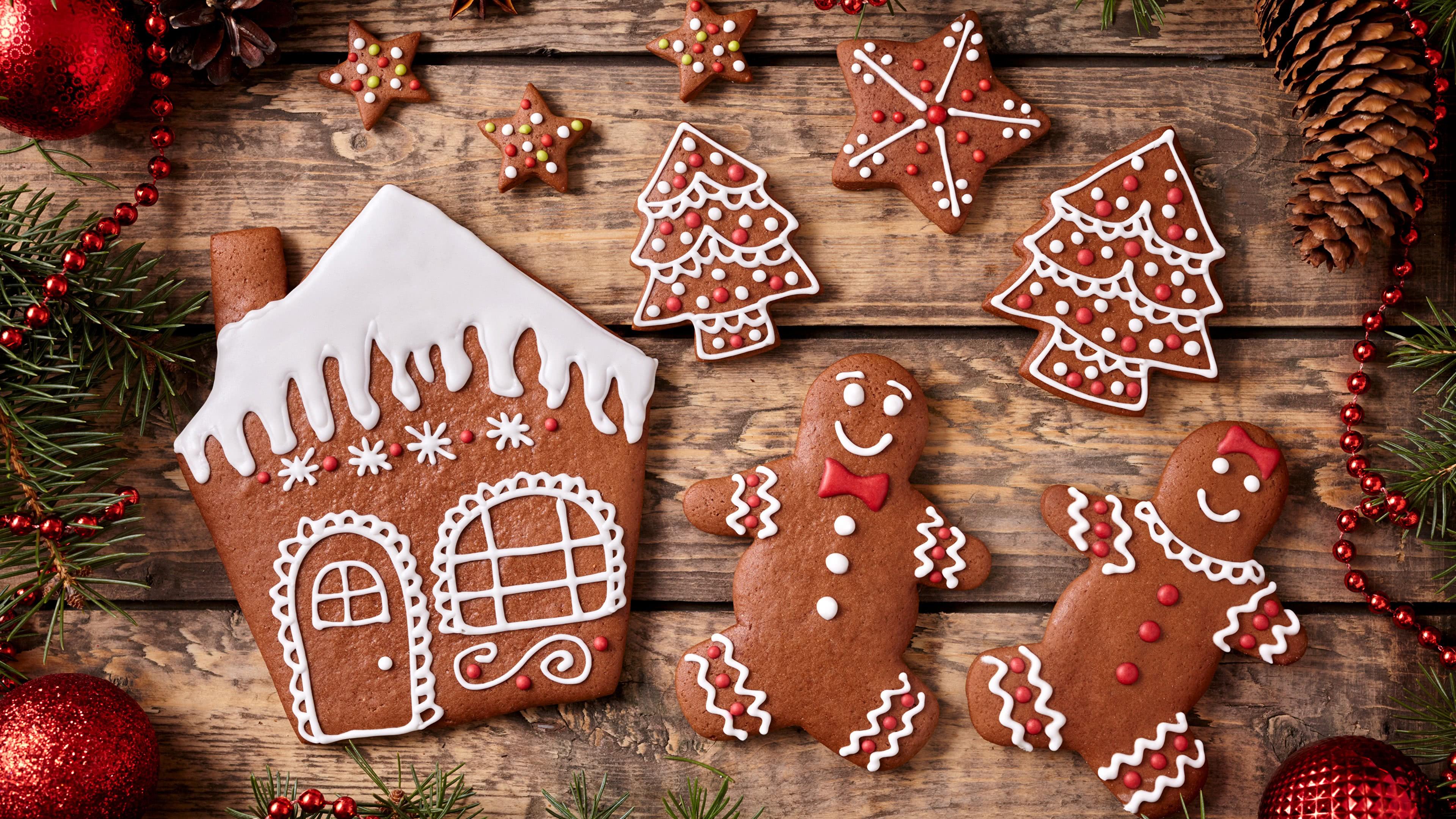 christmas gingerbread house and gingerbread men uhd 4k wallpaper